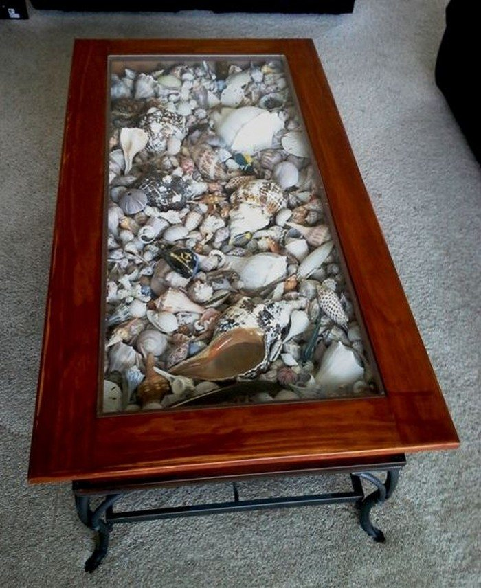 How to make a seashell coffee table diy projects for for Diy shadow box table
