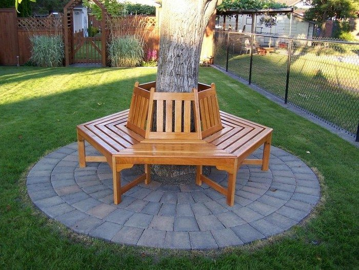 how to build a bench around a tree diy projects for. Black Bedroom Furniture Sets. Home Design Ideas
