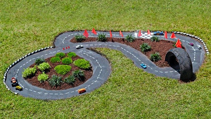 make a diy outdoor race car track for your kids diy. Black Bedroom Furniture Sets. Home Design Ideas