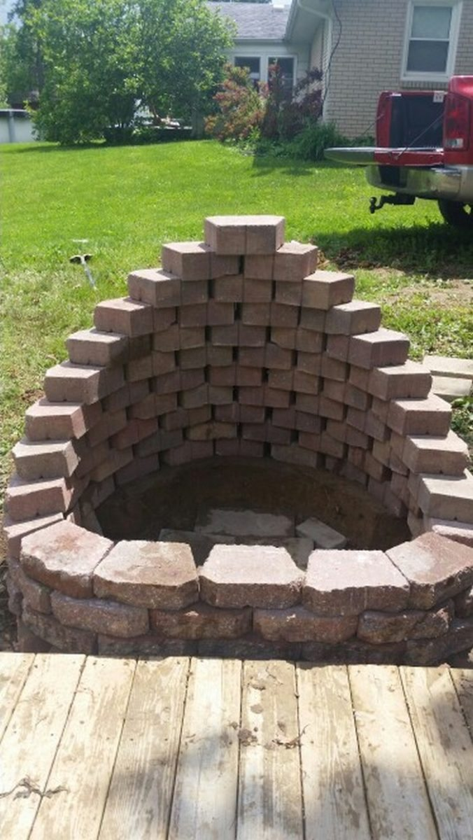 Stone Wall Blocks : Build a fire pit from cement landscape blocks diy