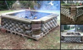 Build a fire pit from cement landscape blocks