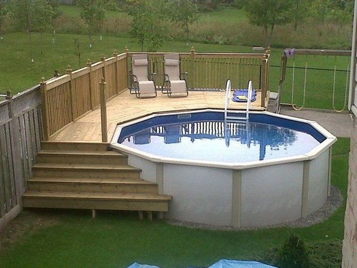 Build an inexpensive above ground swimming pool diy for Above ground pool storage ideas