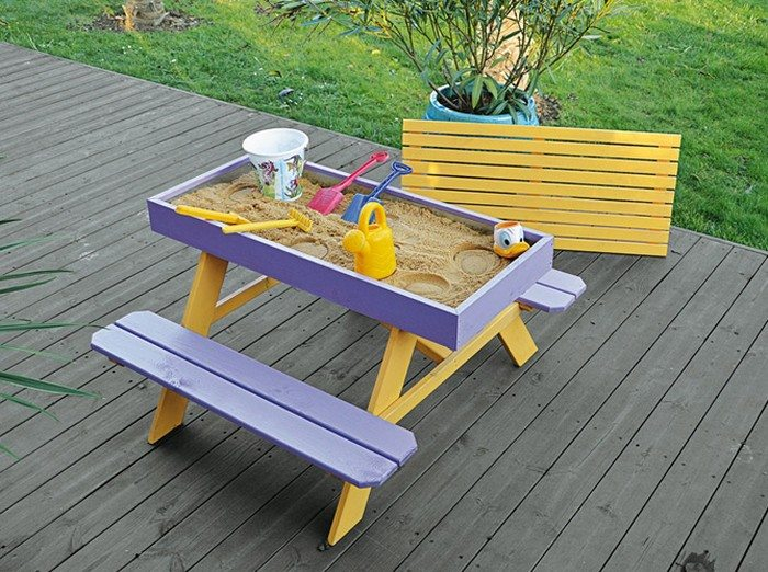 kids picnic table with sandbox sandbox design ideas - Sandbox Design Ideas