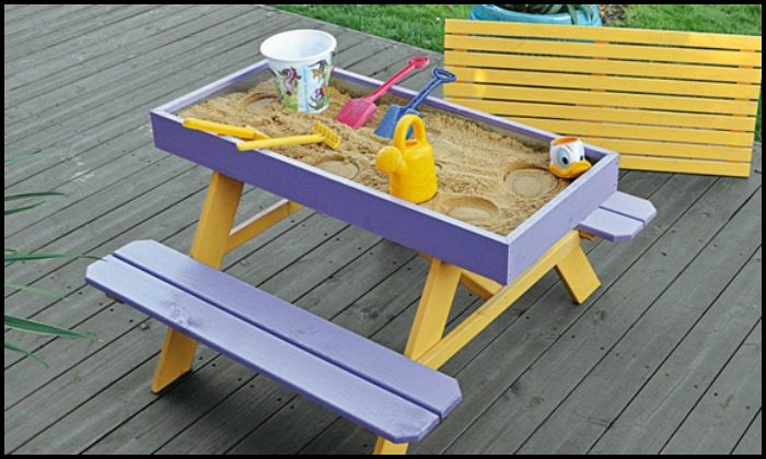 Sandbox Design Ideas outdoor showers plans house design and decorating ideas sandbox design ideas Kids Picnic Table With Sandbox Main Image Sandbox Design Ideas