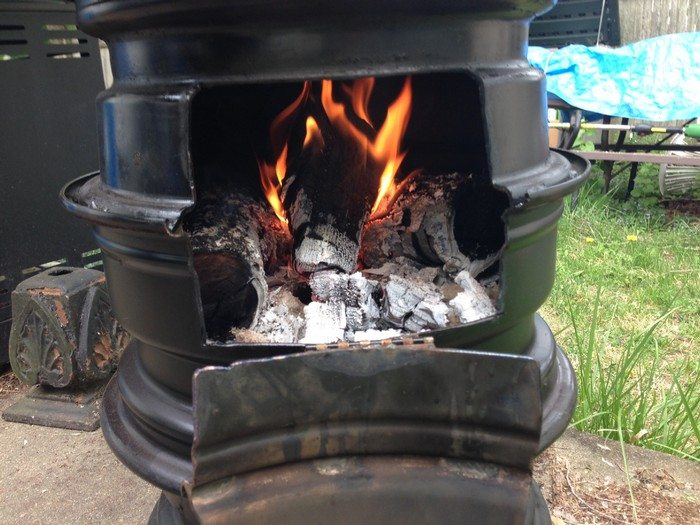 Recycled Tire Rim Stove