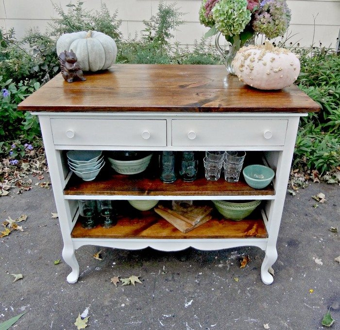 How To Turn An Ugly Dresser Into A Rustic Kitchen Island
