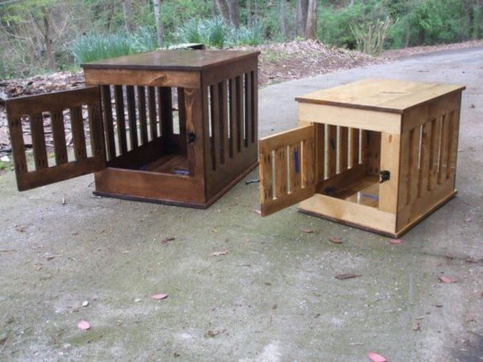 dog kennel end table - Wooden Dog Crate End Tables