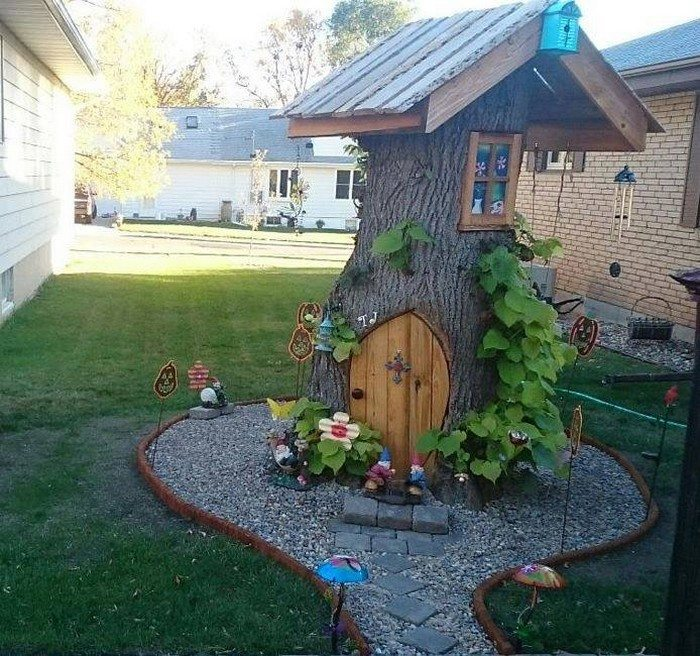 Make A Cute Fairy House From An Ugly Tree Stump DIY Projects For Everyone