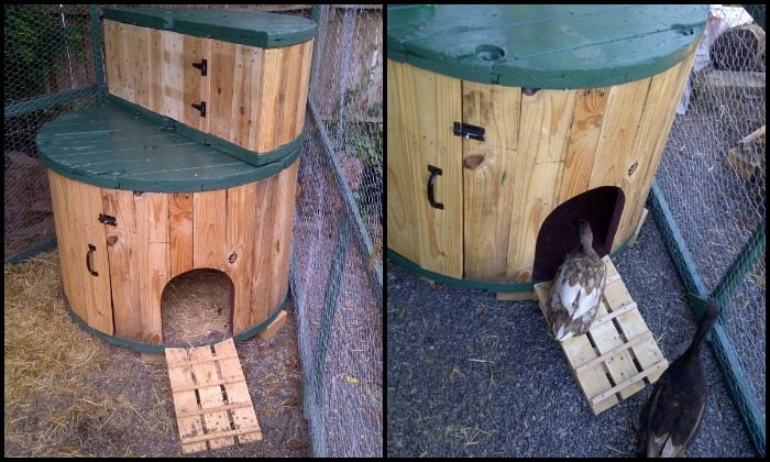 How to turn a cable spool into a duck house