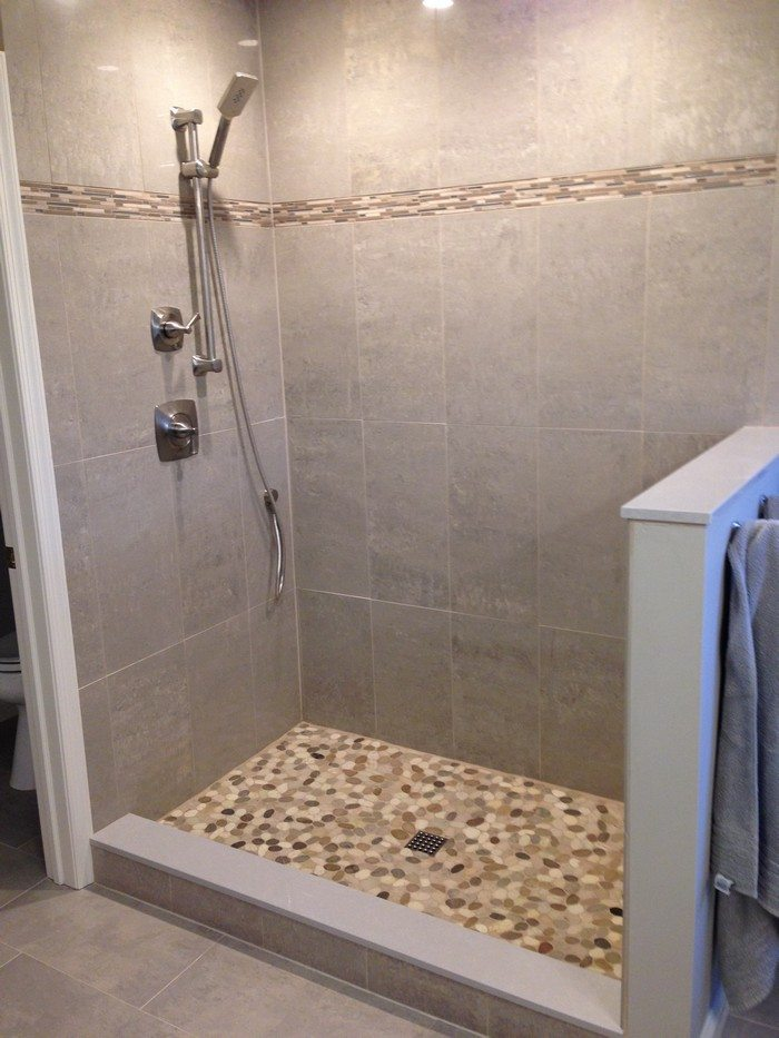 bathroom tan pictures shower galleries tile showers and thumb pebble floor bathrooms shop java