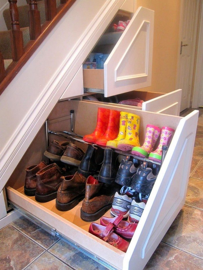 how to build an under stairs pull out storage diy. Black Bedroom Furniture Sets. Home Design Ideas