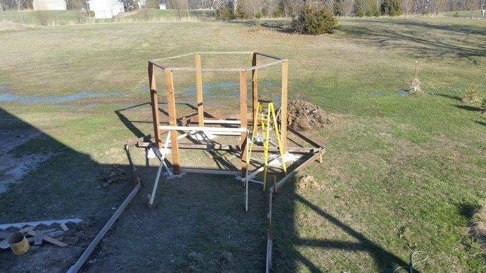 Hexagonal Swing with Sunken Fire Pit