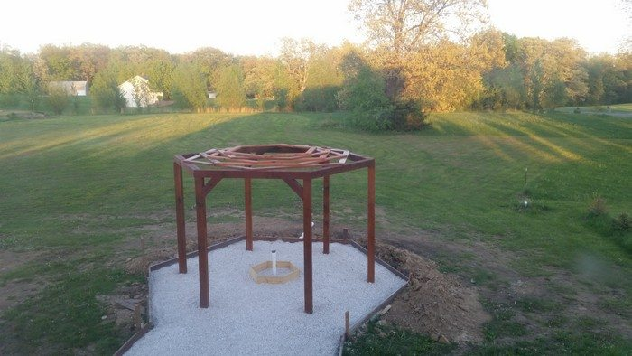 Hexagonal Swing with Sunken Fire Pit - How To Build A Hexagonal Swing With Sunken Fire Pit DIY Projects