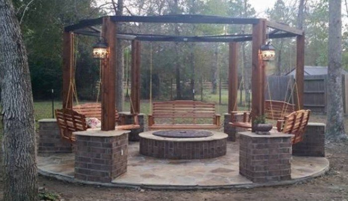 Hexagonal Swing with Sunken Fire Pit Samples - How To Build A Hexagonal Swing With Sunken Fire Pit DIY Projects
