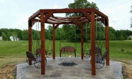 How to build a hexagonal swing with sunken fire pit