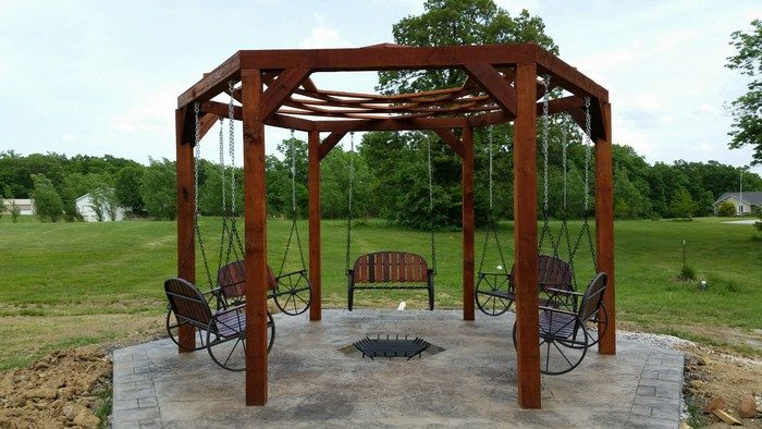 how to build a hexagonal swing with sunken fire pit diy. Black Bedroom Furniture Sets. Home Design Ideas