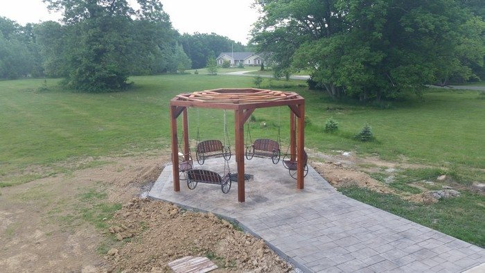 Hexagonal Swing with Sunken Fire Pit Samples