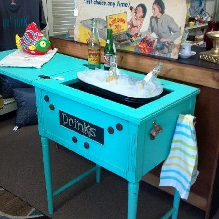 Old Sewing Table Drink Station