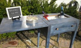 Turn an old sewing table into a drink station
