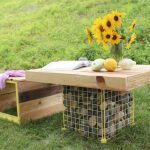 Outdoor Wood Bench Gabion Table