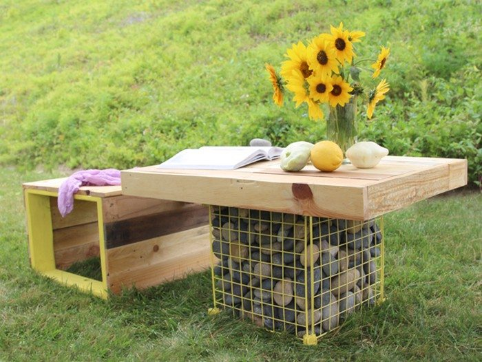 Outdoor Wood Bench Gabion Table