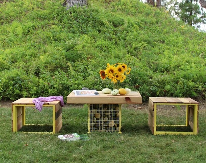 How to build an outdoor wood bench with gabion table