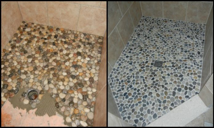 Revamp your bathroom with a pebble shower floor diy for Main floor flooring ideas