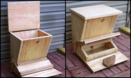 Build your own treadle chicken feeder