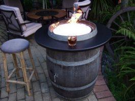 Wine Barrel Fire Pit Table