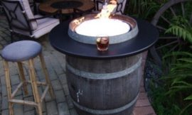 Turn a wine barrel into a fire pit table!