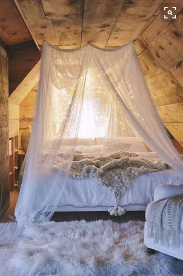 make a magical bed canopy with lights diy projects for. Black Bedroom Furniture Sets. Home Design Ideas