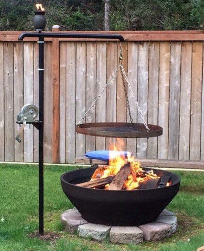 Fire pit with cooking grill diy projects for everyone for Easy diy fire pit with grill