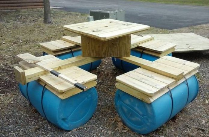 boat when you can DIY a floating picnic table! It's easy to build ...
