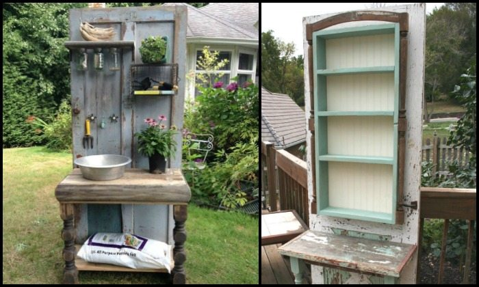 Turn an old wood door into a potting bench