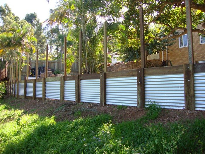 Retaining Wall Ideas Corrugated Steel And Timber
