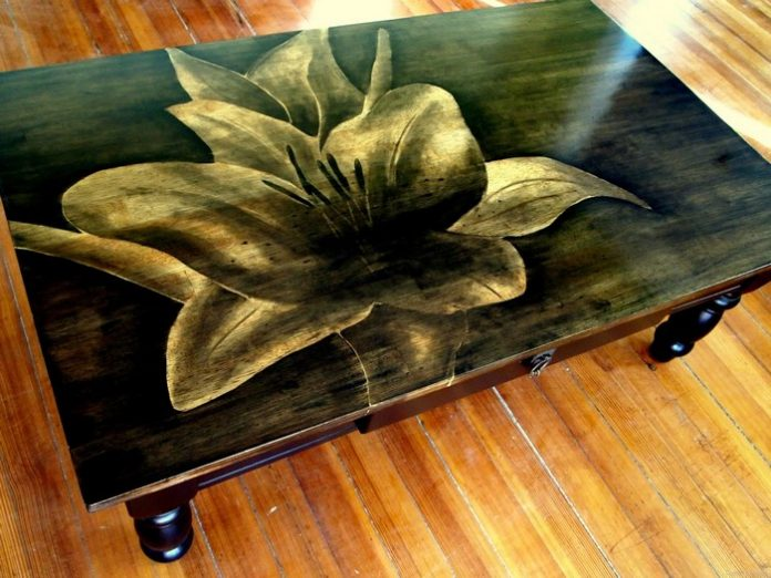 Wood Stain Art Dining Table
