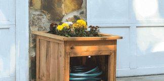 Garden Hose Storage with Planter