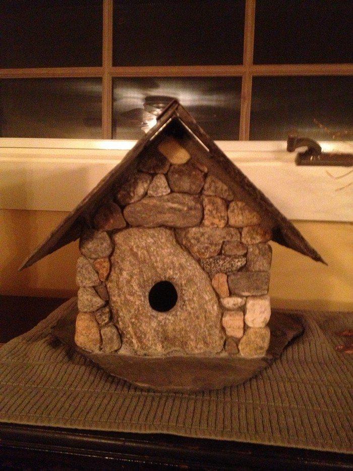 Make An Adorable Stone Bird House For Your Garden Diy