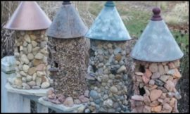 Make an adorable stone bird house for your garden!
