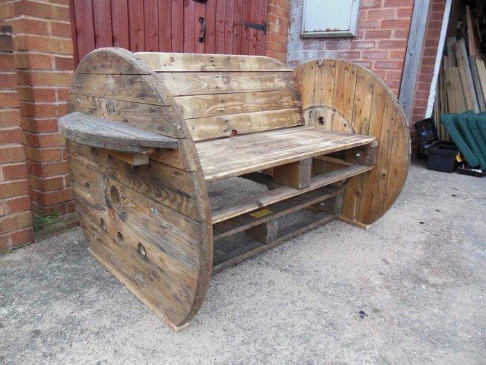 How To Build A Garden Bench From Wooden Cable Reel DIY