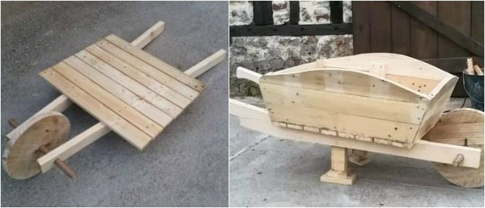 Wood Pallet Wheelbarrow