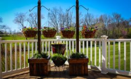 Decorate your patio with pretty flowers in a hanging basket planter!