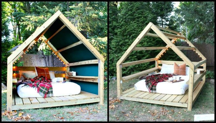 Unwind in your backyard with a cozy DIY outdoor cabana lounge!