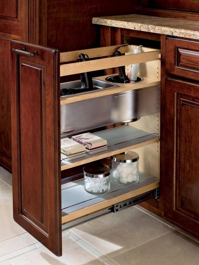 Pull out bathroom storage ideas for a clutter free - Bathroom cabinet organizers pull out ...