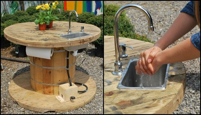 Turn a wooden cable spool into an outdoor kitchen or garden sink