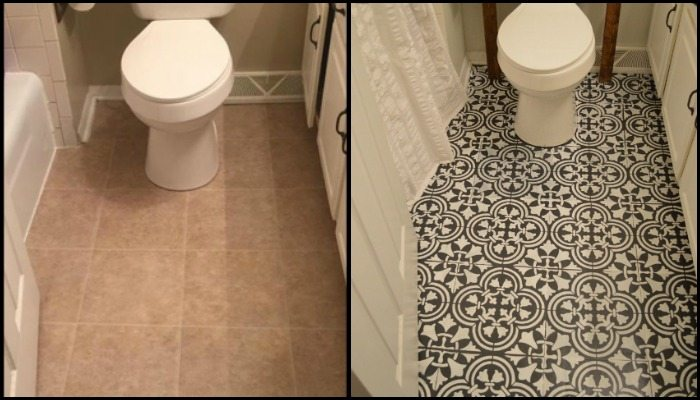 Give your bathroom a new look by chalk painting floor for Can you paint over vinyl flooring