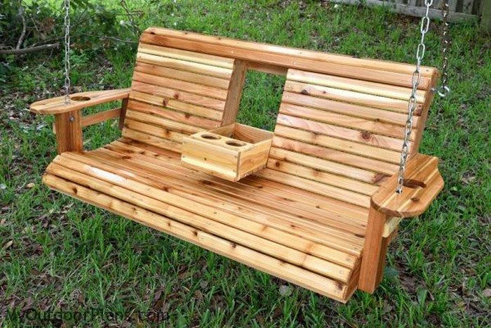 Build a wood porch swing with cup holders! | DIY projects ...