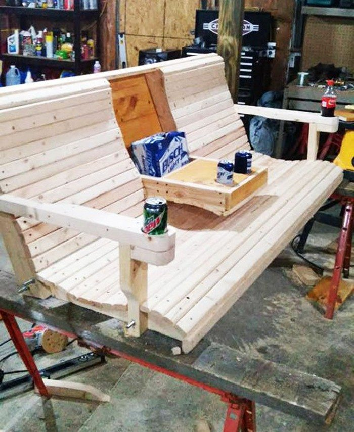 Build a wood porch swing with cup holders diy projects for diy porch swing bench with cup holder solutioingenieria Gallery