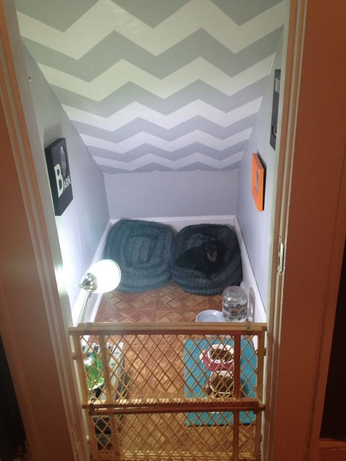 turn a small closet into a dog bedroom diy projects for everyone. Black Bedroom Furniture Sets. Home Design Ideas