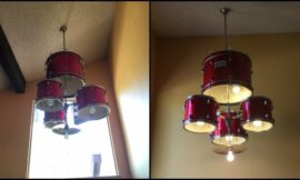 Make a unique chandelier using an old drum set!
